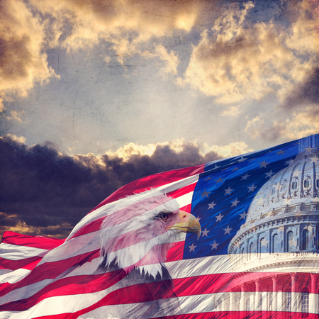 The United States capitol, American flag and bald eagle with aged, grunge effect. 免版税图像