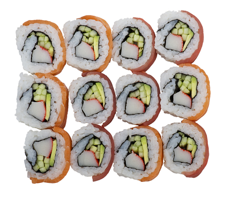 Sushi rolls with salmon and tuna isolated on white background 免版税图像