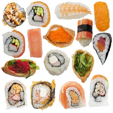 Sushi rolls assortment isolated on white background Stockfoto