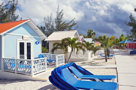 Princess Cays, Bahama Islands- January 8 ,2019.Colorful cabanas and  lounge chairs in the tropical island