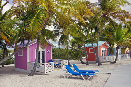 Princess Cays, Bahama Islands. Colorful cabanas and  lounge chairs in the tropical island Stock fotó