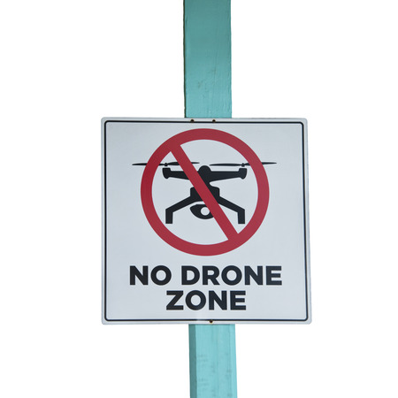 No Drone zone sign isolated on white background Stockfoto