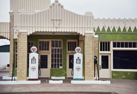 Shamrock, Texas - March 10, 2019: Art deco U-Drop Inn Conoco Station (Tower Station) on Route 66.