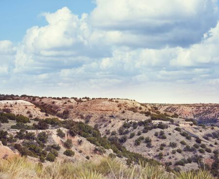 View at Palo Duro Canyon State Park in Texas with scenic road