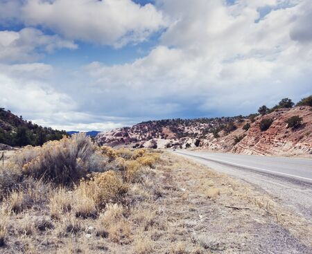 Country Mountain Road in New Mexico, USA.