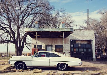 Ghost town on Route 66. Closed cafe and gas station in Glenrio. Zdjęcie Seryjne