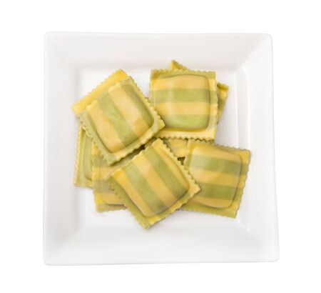 Gourmet Fresh  ravioli with spinach and cheese isolated on white background 版權商用圖片