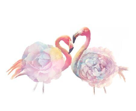 flamingo birds with flowers , watercolor painting 版權商用圖片