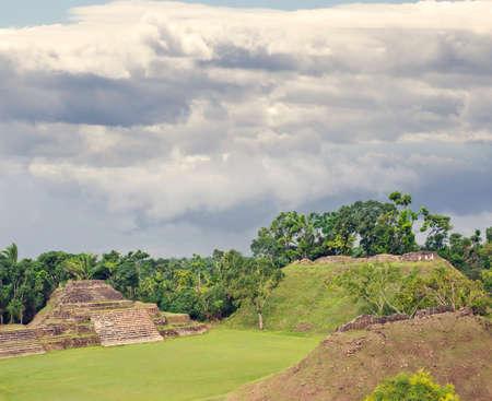 Altun Ha Mayan Ruins in the tropical jungle of Belize