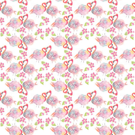 digital watercolor painting of seamless pattern with roses and flamingo birds on white background.