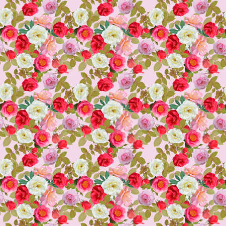 digital painting of seamless pattern with roses and leaves 版權商用圖片