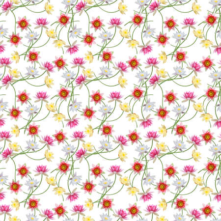 Seamless floral design with waterlily flowers for background, Endless pattern. 版權商用圖片