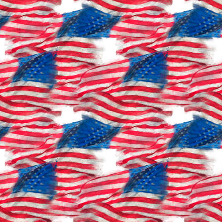 seamless watercolor pattern of American flag for background. Endless texture.