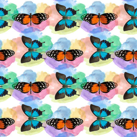 seamless pattern with butterflies on watercolor background. Endless design.