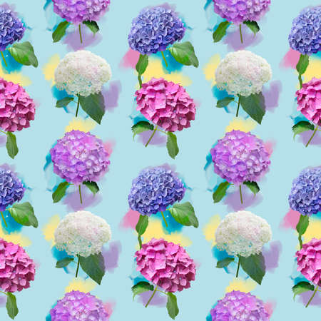 Seamless floral design with hydrangea flowers for background, Endless pattern.