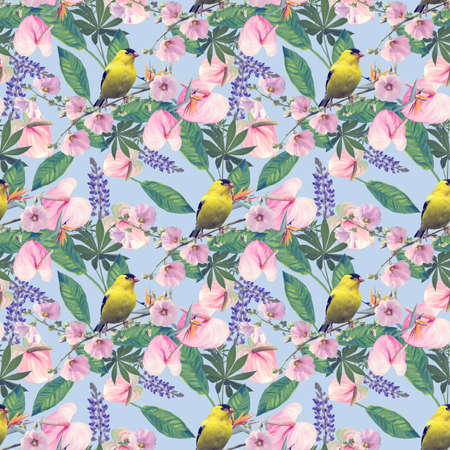 Seamless floral design with yellow bird and tropical flowers for background, Endless pattern.