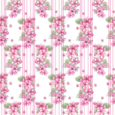 Watercolor Seamless floral design with pink flowers for background, Endless pattern.