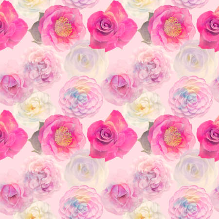 Watercolor Seamless floral design with rose flowers for background, Endless pattern. 版權商用圖片