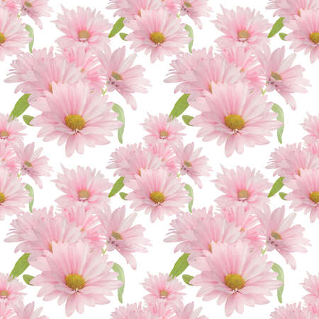 Seamless floral design with pink daisy flowers for background, Endless pattern.