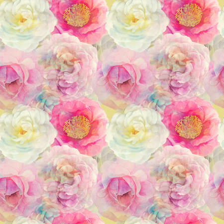 Watercolor Seamless floral design with rose flowers for background, Endless pattern. 写真素材