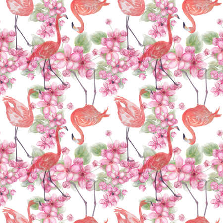 Seamless floral design with pink flowers and flamingo for background, Endless pattern. 写真素材