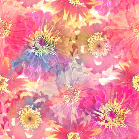 Seamless floral design with zinnia flowers for background, Endless pattern.Watercolor illustration. 写真素材