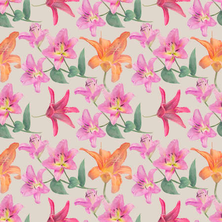 Seamless floral design with lily  flowers for background, Endless pattern.Watercolor illustration. 写真素材