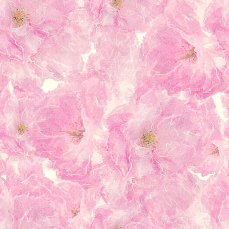 Seamless floral design with pink  flowers for background, Endless pattern.Watercolor illustration. 写真素材