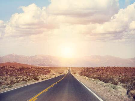 Beautiful Mountain road  in Arizona at sunset
