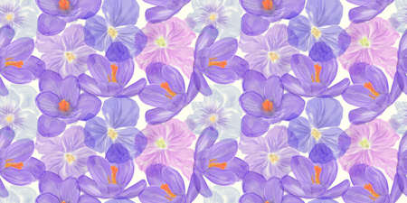 Seamless floral design with blue flowers for background, Endless pattern.Watercolor illustration.