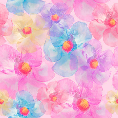 Seamless floral design with tropical flowers 写真素材