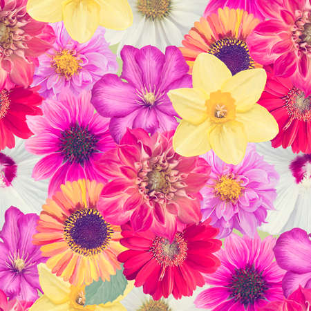Seamless floral design with colorful flowers for background, Endless pattern.Watercolor illustration. 写真素材