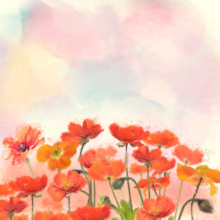 Red Poppy Flowers watercolor illustration. Digital painting.