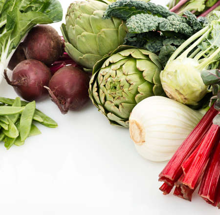 Assortment Of Raw Fresh Vegetables on white background 写真素材