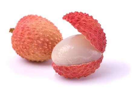 lichee: Macro shot of a pair of lychees