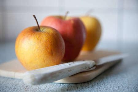 Close up shot of three organic apples