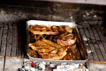 Various kinds of meat on the grill