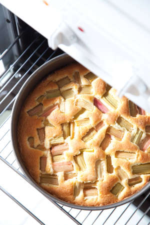 A rhubarb pie European sytle fresh out of the oven