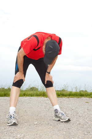 Exhausted athlete after his run