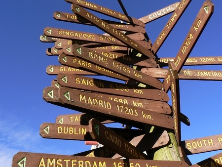 Direction to different places of the world indicated in a street sign. Photo taken in South Australia.