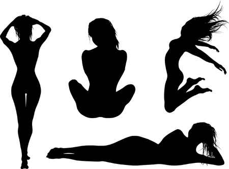 woman lying down: black and white silhouette of a girl
