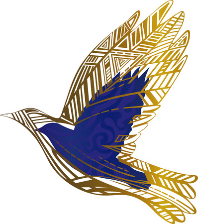 soar: dove of gold lines with a blue background