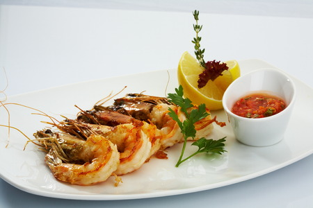 black tiger: fried black tiger prawns with herbs and spices