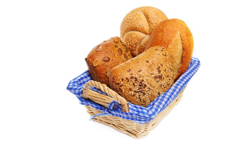 canasta de pan: Rollos de pan en una cesta