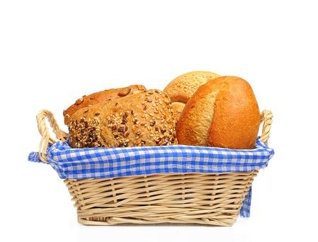 canasta de pan: Bollos de pan en una cesta