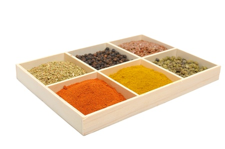 Six spices in a wooden square split jar Stock Photo - 11869717