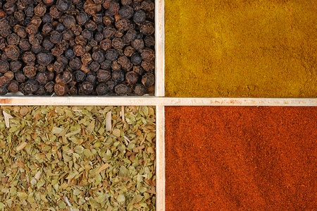 Four spices in a wooden square split jar photo