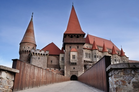 Hunyad Castle: Hunedoara, Romania - April 18, 2012: The famous Castle from Hunedoara where Vlad Tepes(Dracula) has been prisoner for 7 years(starts in 1462).