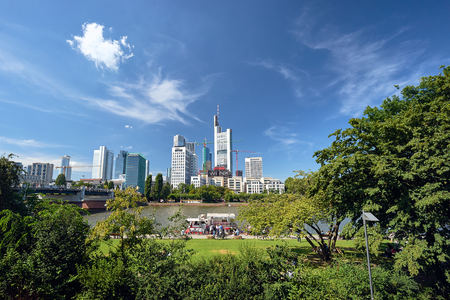 View from the park on the Frankfurt street, Germany, Europe