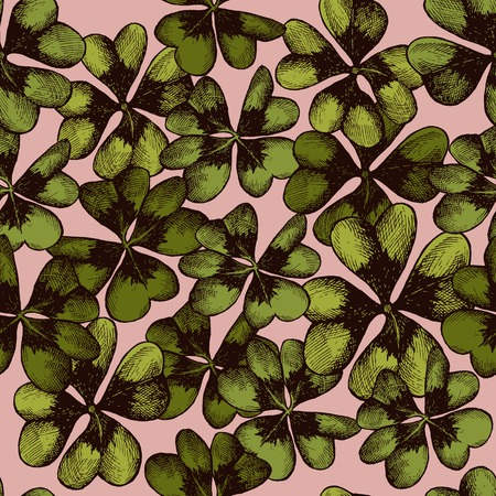 Vector seamless pattern with compositions of hand drawn oxalis vector stock file